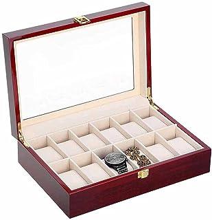 LXSNH Vente Boîte de Montre Montre Organisateur 12 Grids Wooden Watch Storage Cas de Stockage Boîte de Rangement Boîte à B...