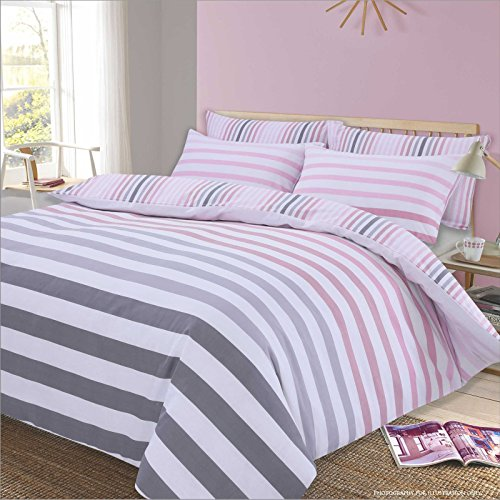 Dreamscene Stripe Duvet Cover with Pillow Case Reversible Bedding Set, Fade Pink White - Double