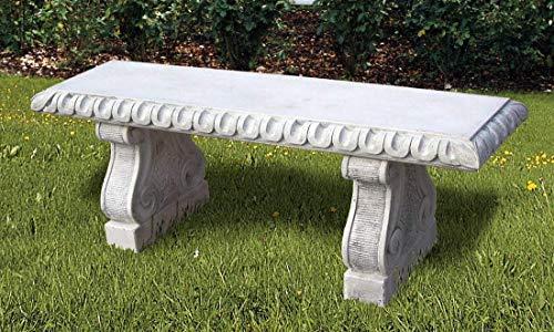 pompidu-living Steinbank BOARIO - Steinbank in Antik Optik für den Garten - Wetterfeste Sitzbank aus Steinguss - Steinmöbel für Outdoor weiß H 49cm