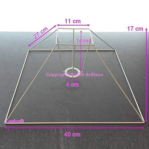 Lealoo Carcasse lampenkap, piramide, laag, 40 x 11 x 27 cm, vierkant onderstel 4 beugels van epoxyhars, corrosiebestendig, voor E27