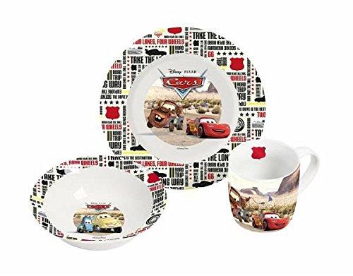 infinite by GEDA LABELS (INFKH) Frühstücksset Disney Cars Gruppe 3 teilig Porzellanset, Porzellan, Mehrfarbig, 22.5 x 9.5 x 19.5 cm, 6-Einheiten