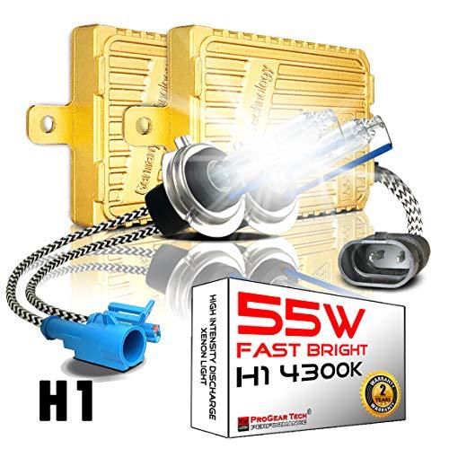55W Heavy Duty Fast Bright H1 4300K AC Digital HID Xenon Conversion Kit for 12V NON-CANBUS Vehicles Headlights Fog-lights (OEM Light Yellow)
