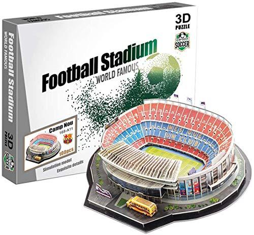 JXJ Rompecabezas 3D Estadio de fútbol Camp NOU Kits de Modelos de Bricolaje Modelo de Campo de fútbol 3D Rompecabezas para Adultos y niños Dormitorio Decoración de Oficina, 100 Piezas