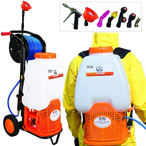 PetraTools Battery Backpack Sprayer with Custom Fitted Cart and 100 Foot Commercial Hose 2 Hoses product image