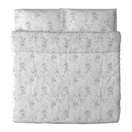 Ikea Alvine Kvist Duvet Cover and Pillowcase, White/Gray, King