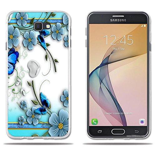 fubaoda Funda Samsung Galaxy J7 Prime Hermoso Dibujo en Relieve de Mariposas, Flexible Funda Protectora Anti-Golpes para Samsung Galaxy J7 Prime