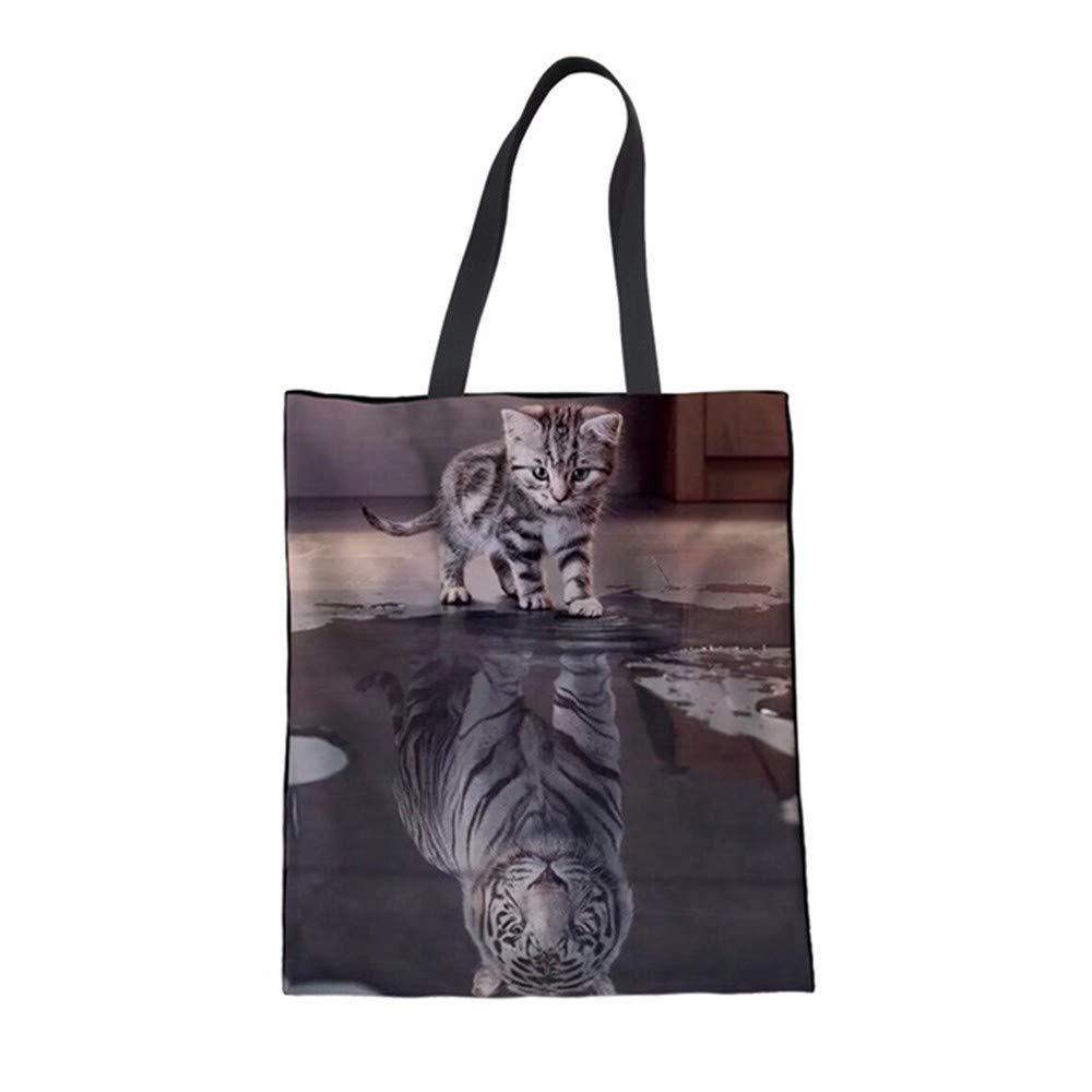 ZXXFR Bolsos Cat Reflexión Tiger Imprimir Mujer Algodón Bolsas De Compras Multi-Función De Reciclar Bolsas De Supermercado Femenina Bolsa Ecológica: Amazon.es: Hogar