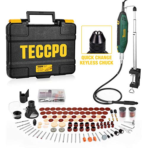 Upgraded Rotary Tool TECCPO 200W 1.8 amp, 10000-40000RPM, 6 Variable Speed with Flex shaft, Universal Keyless Chuck, Sharpening Guide, 120 Accessories Ideal for Crafting Project and DIY Product Name