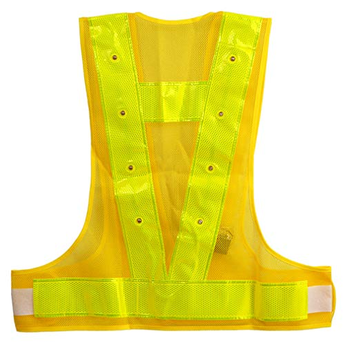 Reflective LED Safety Vest Outdoor Running High Visibility Reflector Clothing for Men, Women Best for Jogging, Biking, Walking, Motorcycle (Yellow LED Reflective Vest)