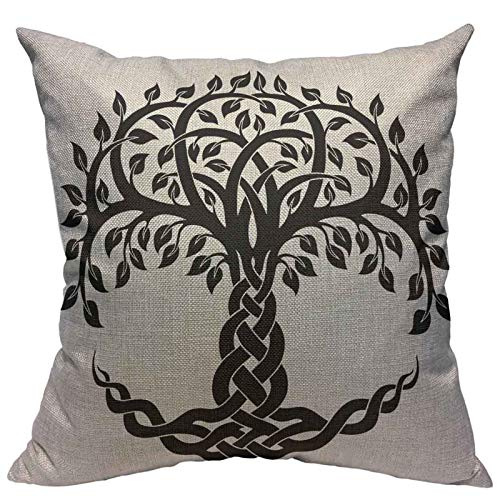 VERSUSWOLF Throw Pillow Covers Black Floral Celtic Tree Life White Knot Round Cotton Linen Decorative Square Pillowcases Cushion Cover 18 X 18 Inch
