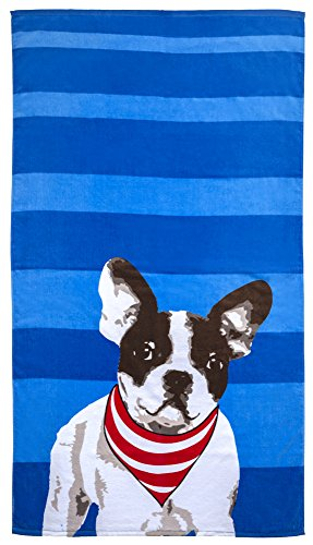 Revere Mills Bright-Striped with French Bulldog Beach Towel, Frenchie