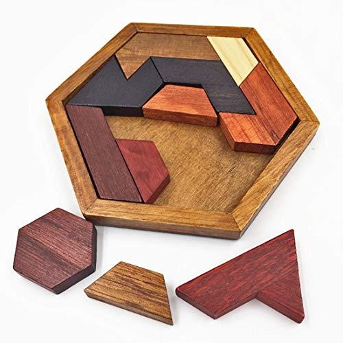 MYHH Kinder Holzspielzeug Hexagon Puzzle Geometric Abnormity Shape Puzzle Tangram.