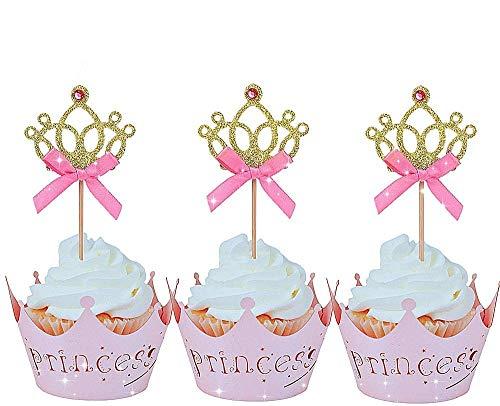 JeVenis 40 PCS Glittery Princess Cupcake Toppers...