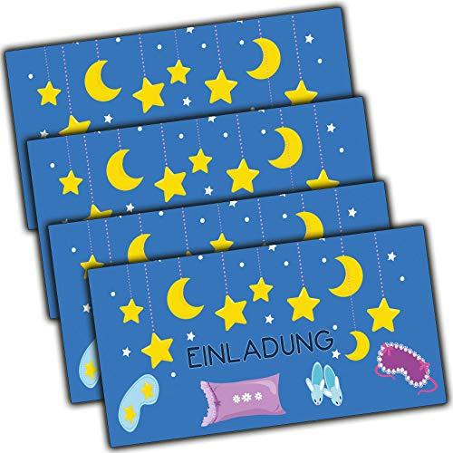 moonbl Einladung zur Übernachtungsparty Sleep-Over Party Einladungskarten Pyjamaparty Mädchen Jungs Kindergeburtstag Geburtstag Kinder