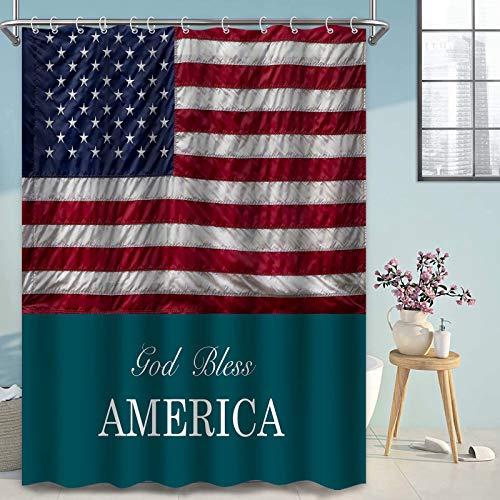 Thinyfull Duschvorhang, Motiv: Amerika-Flagge, lustige Zitate, God Bless, amerikanische Badezimmer-Dekoration, wasserdicht, maschinenwaschbar, Polyester, 183 x 183 cm
