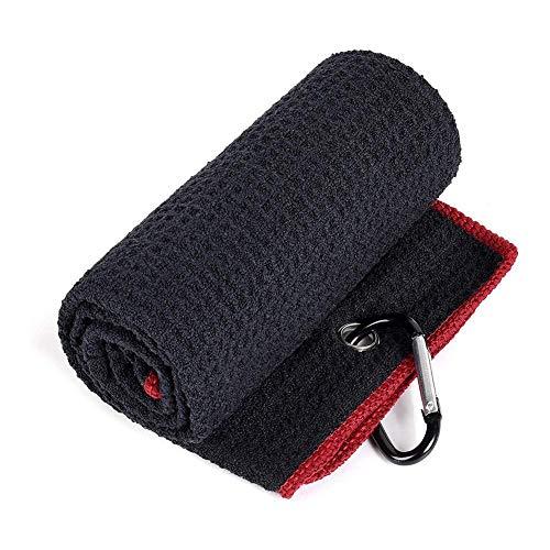 Toalla de golf triple plegable con patrón de gofre suave toalla de limpieza de golf con mosquetón para colgar en la bolsa del club de golf
