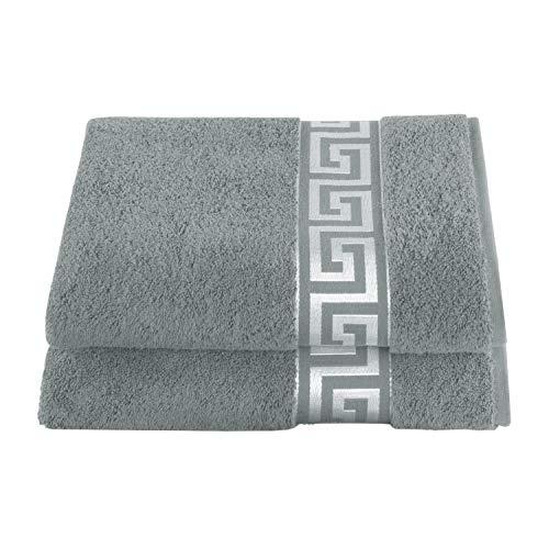 Delindo Lifestyle Rhodos - Toalla de mano (rizo, 6 unidades), algodón, gris, 50 x 100 cm