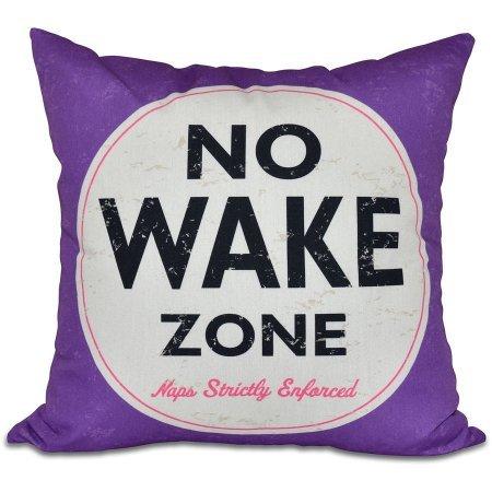 Nap Zone Word 16' x 16' Print Outdoor Pillow Purple