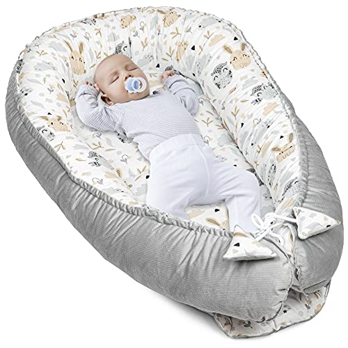 Babynestchen Velvet Kuschelnest für Neugeborene 90x50 cm - Baby Nestchen Bett Kokon Fleecestoff in Hellgrau mit Baumwolle