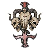 Summit Collection Satanic Devil's Cross Ram Skull Petrine Inverted Cross Wall Sculpture 12 Inches