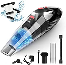 Handheld Vacuum, Cordless Handle Vacuum Cleaner with 12.6V USB Charging Cable, 100V/240V Charge Adapter, Waterwashable Steel Filter, 120W 7000pa Powerful Wireless Vacuum with LED Light