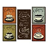 Paper Coffee, Espresso, Cappuccino, Latte and 'This House Runs On Love Laughter and a Whole Lot Of Coffee' Set; Four 8x10 and One 8x18in Paper Posters