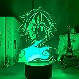 Lámpara de luz de noche acrílica Manga The Seven Deadly Sins Gadget para la habitación del hogar Luz decorativa Meliodas Figura Lámpara de mesa para niños Regalo