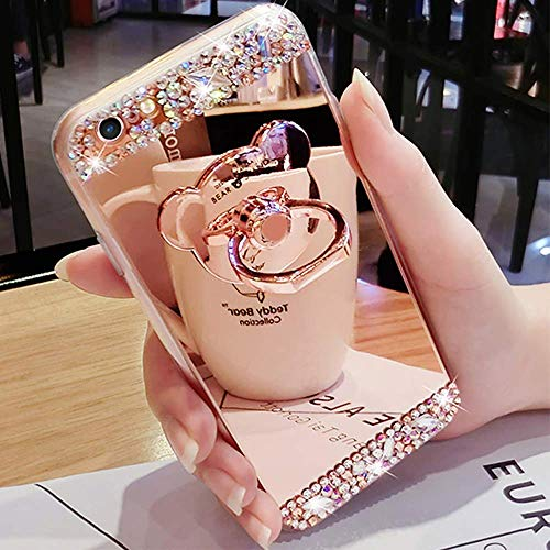 Bling Case for iPhone 6 Plus iPhone 6S Plus Rose Gold Case LAPOPNUT Crystal Rhinestone Soft Rubber Bumper Cover Glitter Diamond Mirror Makeup Case with Cute 3D Bear Shape Ring Stand Holder