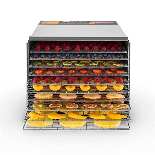 Klarstein Fruit Jerky Pro 10 - Déshydrateur alimentaire, Puissance 1000W, 10 larges étages, Surfache de séchage env.1,5m², Production naturelle, Châssis en métal stable, Écran LCD, Argent
