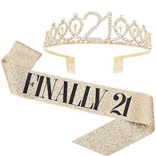 'Finally 21' Sash & Rhinestone Tiara Set - 21st Birthday Gifts Birthday Sash for Women Fun Party Favors Birthday Party Supplies (Gold Glitter with Black Lettering)