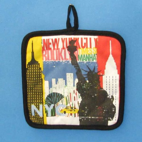 "Pack Of 6 Cotton Decorative ""NY ALL ICON"" Pot Holders"