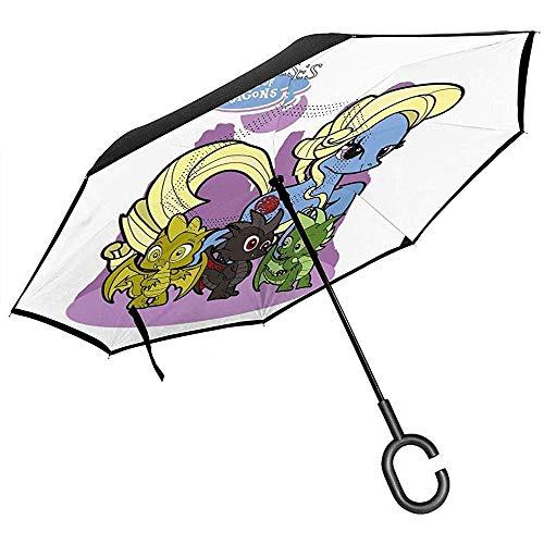 My Little Thronies Pony omgekeerde paraplu voor auto omgekeerde vouwen ondersteboven C vorm handen lichtgewicht winddicht ideaal cadeau