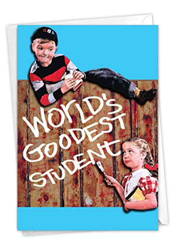 Goodest - Retro Graduation Note Card with Envelope (4.63 x 6.75 Inch) - Vintage Kids, Congratulations Note Card for High School, CHildren - Funny Bad English Student, Boys and Girls 7213