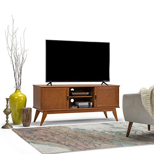 SIMPLIHOME Draper Mid Century Low TV Media Stand, 60 inch, Teak Brown