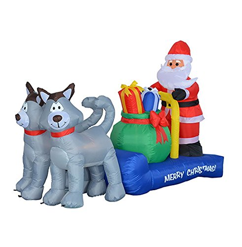 BZB Goods 7 Foot Long Christmas Inflatable Santa Claus on Sleigh with Husky Decoration