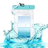 kwmobile Custodia Impermeabile Borsa da Spiaggia per Smartphone - Beach Bag per Cellulare - Protezione Acqua Sabbia - Astuccio 16,5 x 9,5 cm - Blu/Trasparente