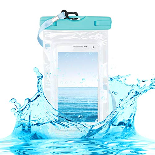 kwmobile Funda Impermeable de Playa para Smartphone - Carcasa con Cinta para Colgar de plástico - Case Sumergible Azul/Transparente