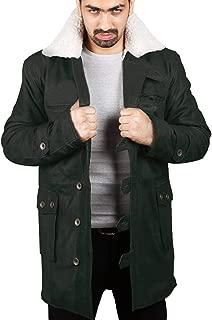 Laverapelle Men's Bane Genuine Distressed Leather Shearling Coat (Black, Trench Coat) - 1502848