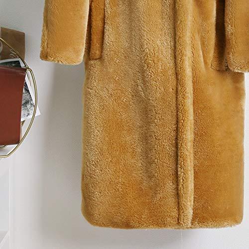 ARTFFEL Chaqueta suave para mujer de invierno gruesa y cálida, abrigos de gran tamaño, ropa de calle elegante, gruesa (color: abrigo de peluche mostaza, tamaño: XL)