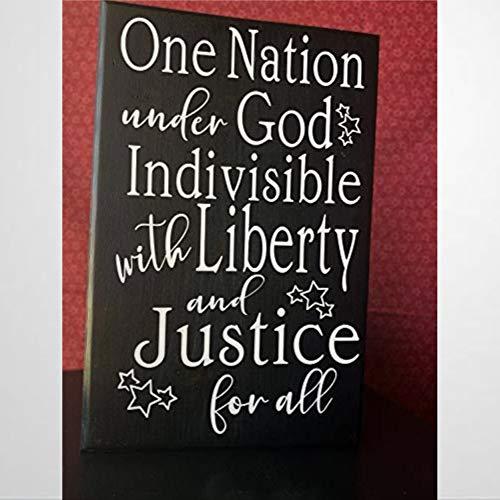 BYRON HOYLE One Natio N Under God Indivisible with Liberty And Justice for All Farmhouse Divertido cartel de madera de madera para pared arte decorativo para el hogar