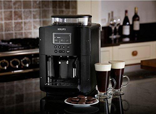 Krups EA8150 - Cafetera Automática 15 Bares de Presión, Pantalla LCD, 3 Niveles de Intensidad, Ajustable de 20 ml a 220 ml, Programa Automático de Limpieza y Descalcificación, Molinillo Integrado