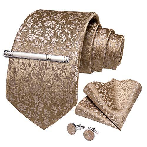 DiBanGu Herren Krawatten-Set aus Seide, gestreift, kariert, gewebt, quadratisch Gr. Einheitsgröße, Braunes Blumenmuster