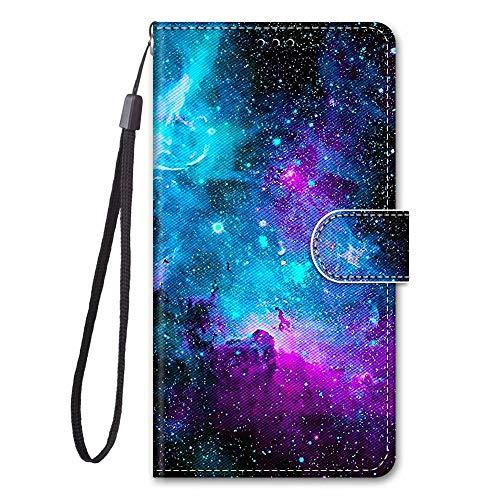 Miagon Full Body Flip PU Leder Schutzhülle für Huawei Y6P,Bunt Muster Hülle Brieftasche Case Cover Ständer mit Kartenfächer,Wolke