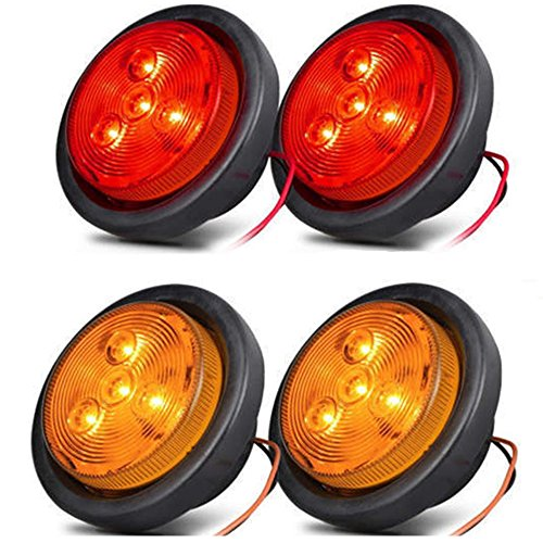 """NEW SUN 2.5"""" LED Clearance Marker Lights for Trailer 4 Diodes Round LED Flash Mount Marker Lights 2 Amber and 2 Red"""