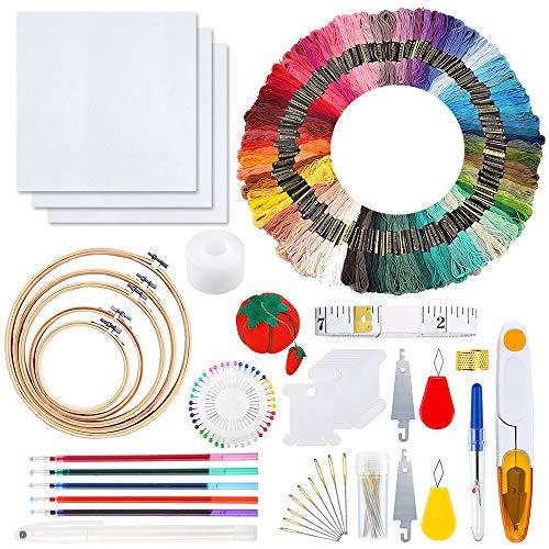 OTHWAY Stickgarn-Kit, Stickstarter-Kit mit 100-Farben-Stickgarnen, 5 Stickrahmen, 3-teiligen Aida-Stoff- und Kreuzstichwerkzeugen, Friendship Bracelet Making Kit (100 Farben)