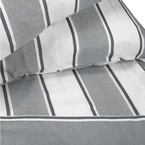 Manifattura Toscana Sábanas de percal de Rayas Anchas Negras Blancas - Negro, Single Duvet Cover +1 Pillowcase
