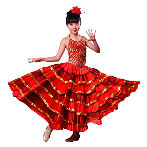 LOLANTA Vestido de Danza del Vientre Rojo para niñas Falda de Traje de Flamenco español Top Adjunto Cabeza Flor