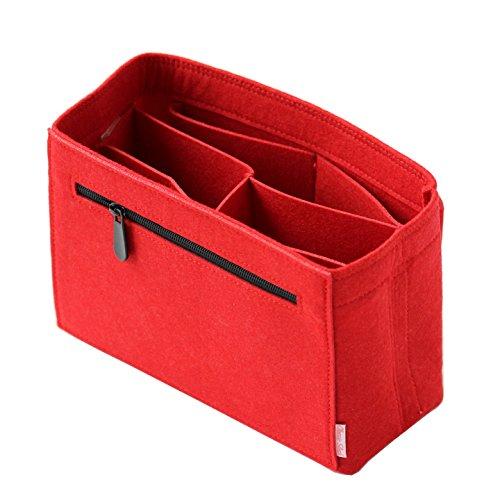 Classic Slash Organizador de Bolso - Bag Organizer con Cremallera - Bag Organizador de Mujer - Bag In Bag - Fieltro - Rojo - Pequeño - para Bolsas Fuera 23cm