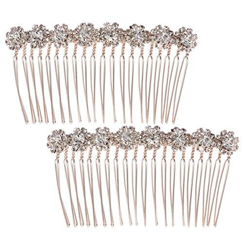Lurrose 2 peinetas de flores brillantes para novia, accesorios para el pelo...