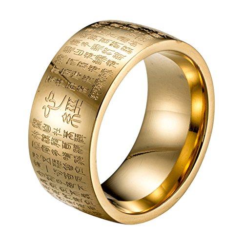 HIJONES Herren Buddhistischen Mantra Herz Sutra 10mm Breite Edelstahl Vergoldet Ring, Siegelschrift Chinesischen Stil Größe 62